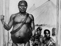 Bild des Königs Lobengula der Matabele; by Ralph Peacock, based on a sketch by E. A. Maund. Published by Rhodesian National Archives c1950.
